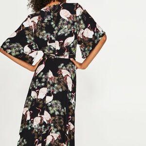 Zara Crane Print Kimono Sleeve Wrap Dress Small